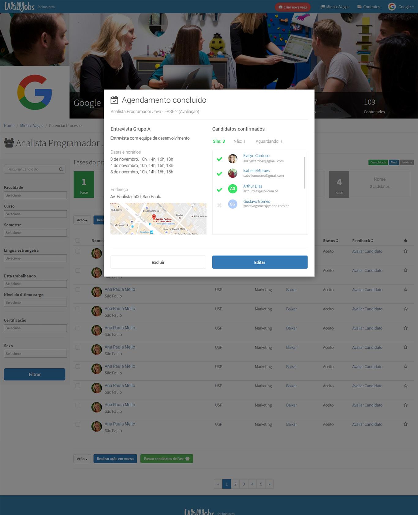 Exemplo de página de agendamento de eventos/entrevistas na plataforma WallJobs