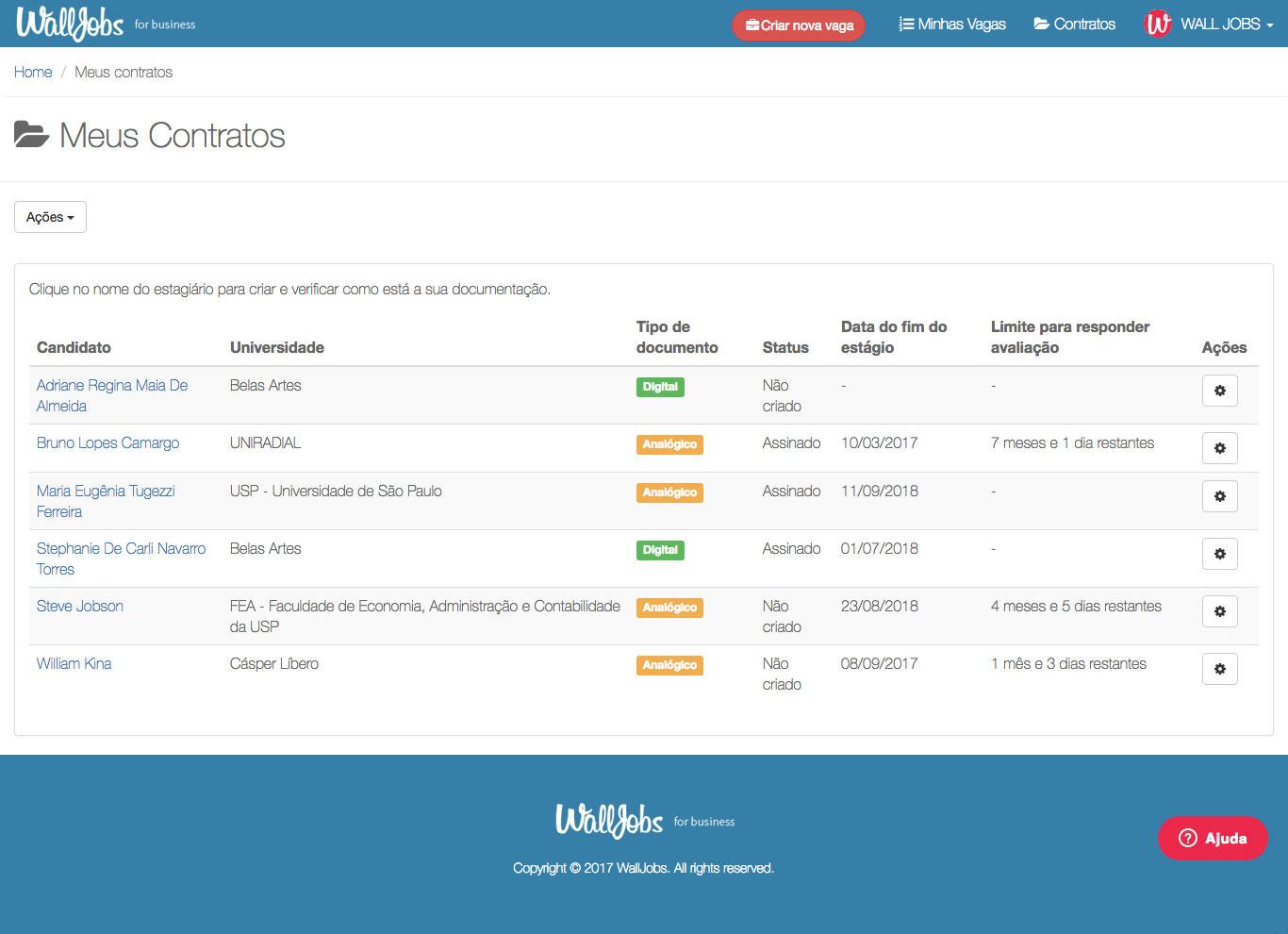 Exemplo de página de gerenciamento de contratos de estágio de uma empresa na plataforma WallJobs