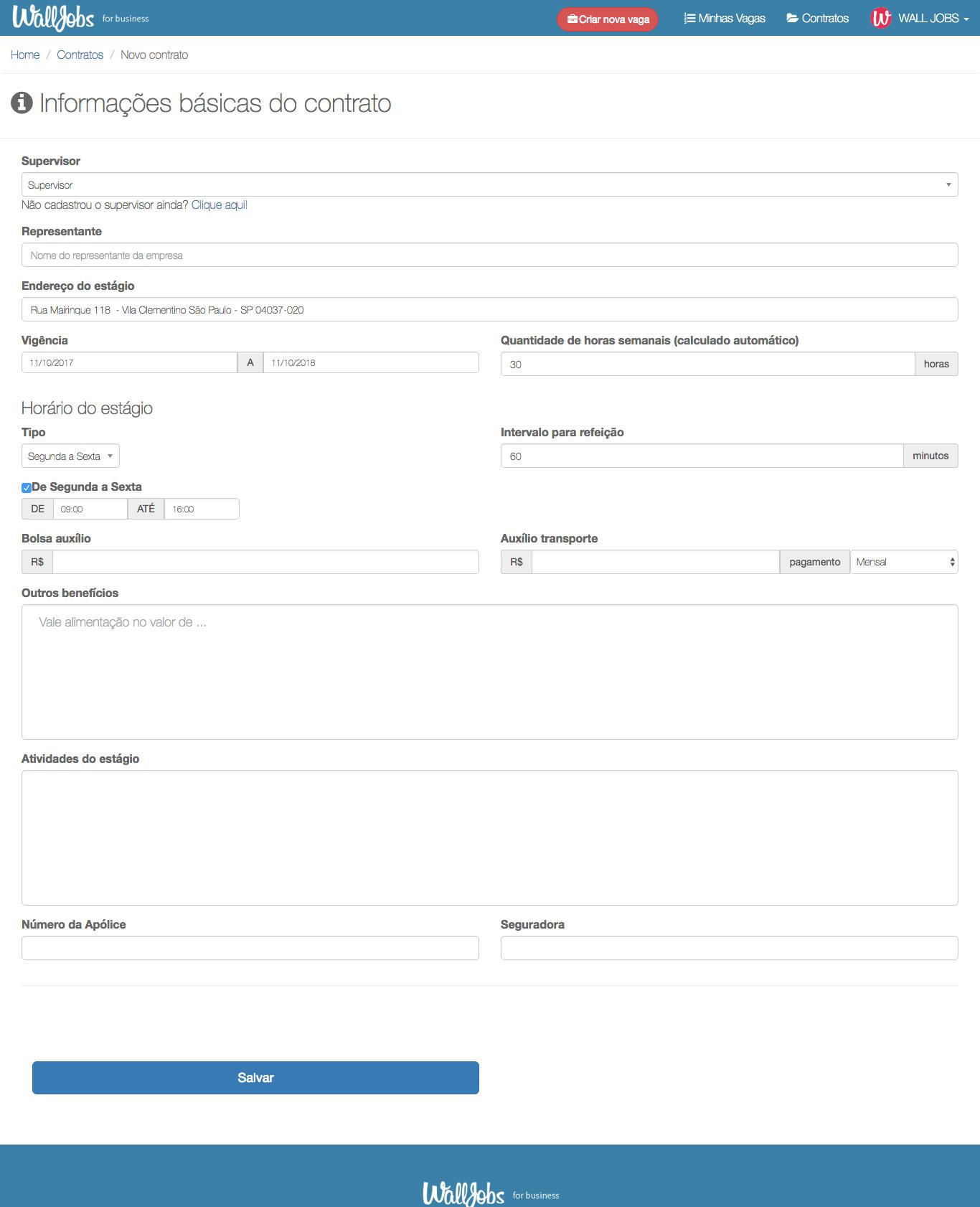 Exemplo da página de criação de um contrato na plataforma WallJobs