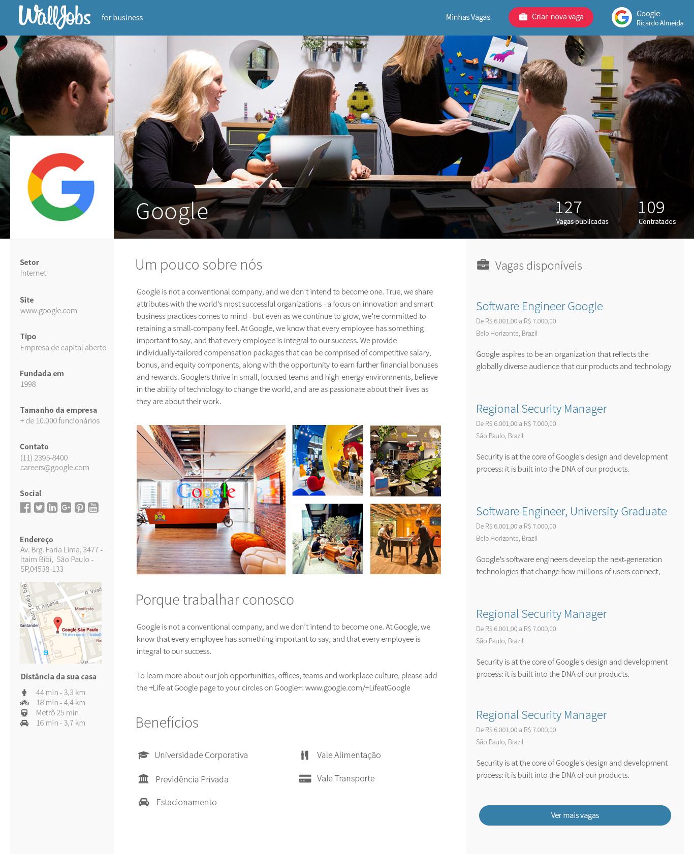 Exemplo de página de empresa na plataforma WallJobs