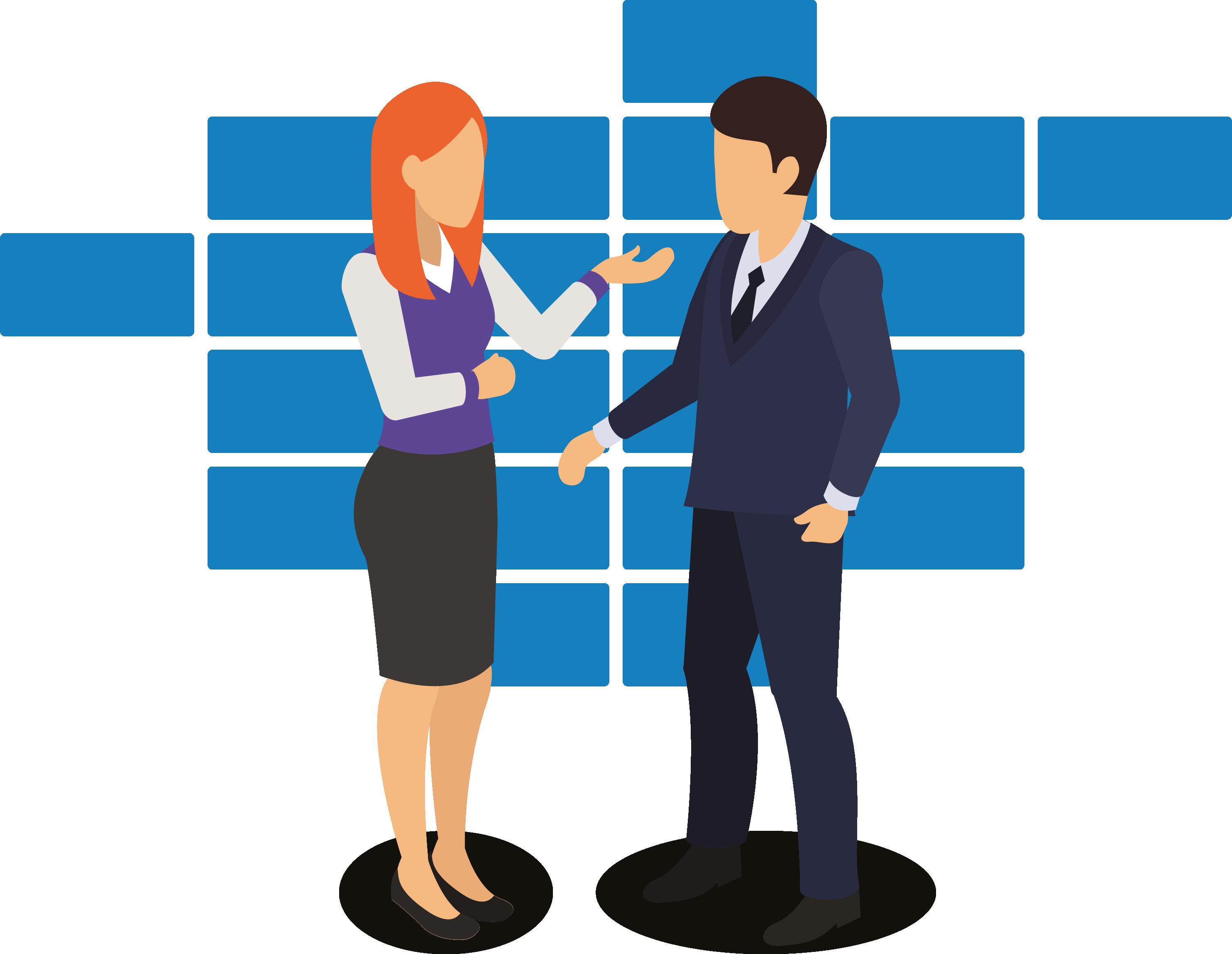 ilustração de uma mulher e um homem conversando sobre negócios