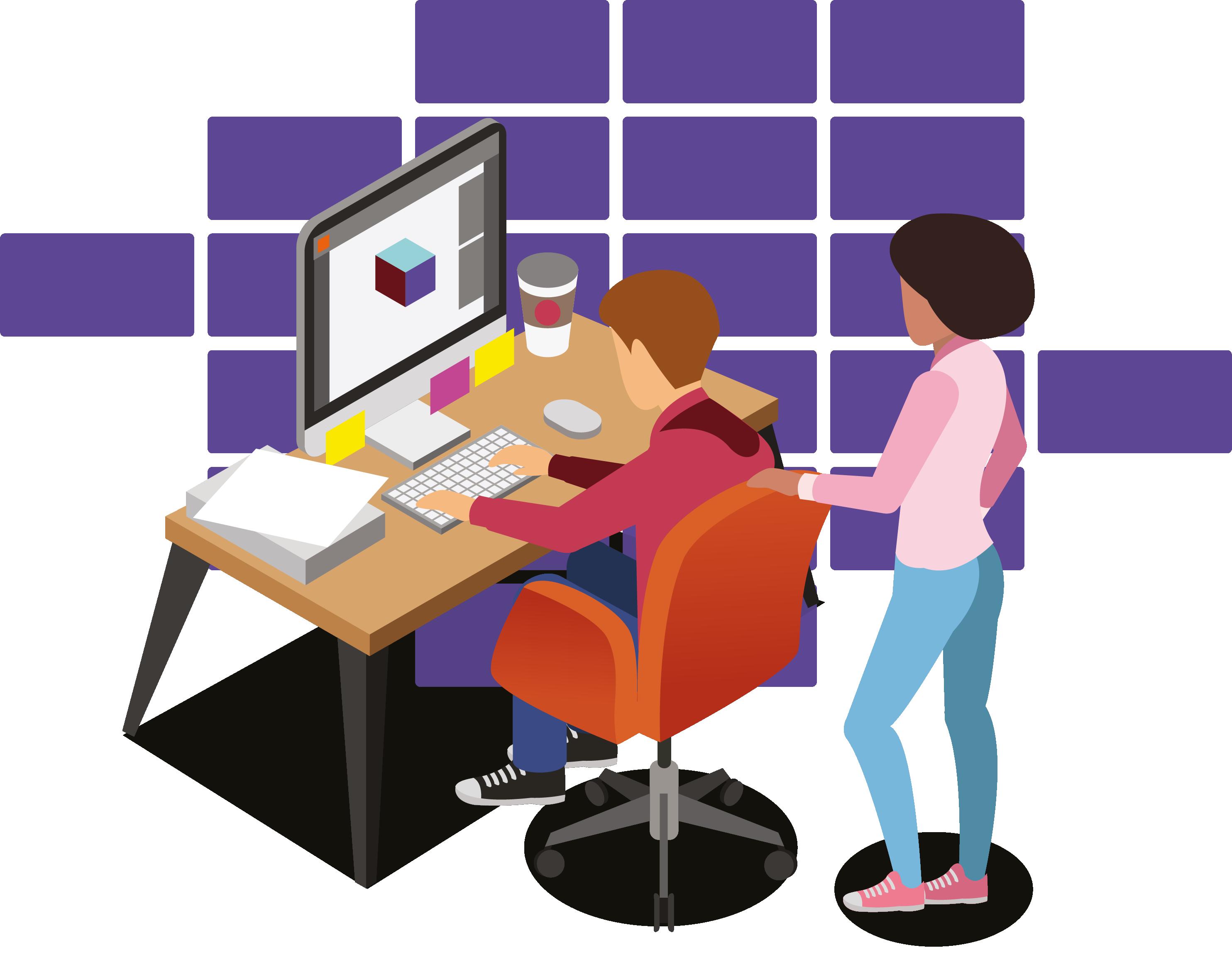ilustração de estudantes, um sentado e outro em pé, buscando vagas de estágio no computador