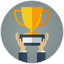 Figura: troféu sendo erguido, representando uma postura vencedora