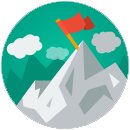 Figura: montanha com uma bandeira no topo, representando persistência